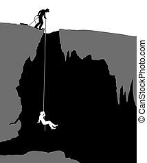 Cavers - Editable vector illustration of cavers exploring a...