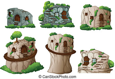 illustration of different caves