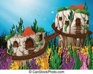 Illustration of two caves underwater