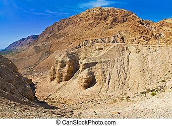 Caves of Qumran, Israel - caves of Khirbet Qumran in the...