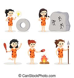 cavewoman character set illustration design