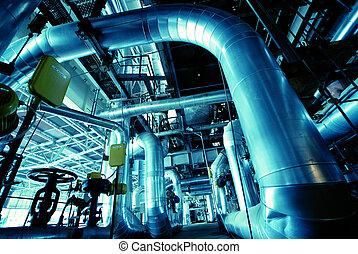 cavi, dentro, apparecchiatura, moderno, fondare, industriale, potere, tubatura, pianta