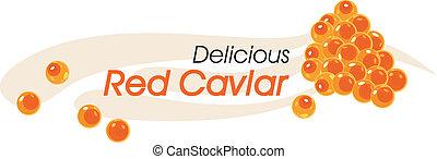 caviar, délicieux, rouges
