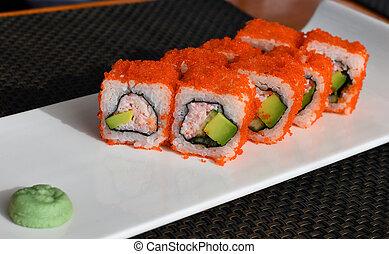 Caviar rolls on table in a restaurant
