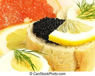 Caviar snack, closeup