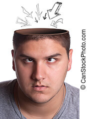 cavidad, cabeza, abierto, hombre