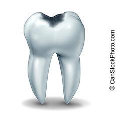 cavidad, símbolo, diente, enfermedad, decaimiento