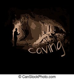 caving - dark silhouette of a man in a cave, stalactites and...