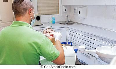 cavité, instruments, image, malades, dentiste, arrière, inspection, oral, spécial, vue