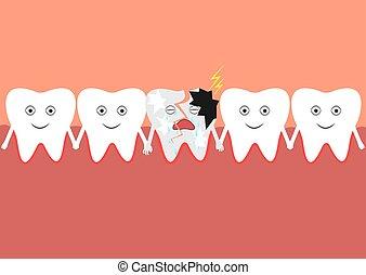 cavité, premier, inclure, tooth., dents, toqué, oral