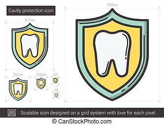 Cavity protection line icon.