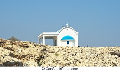 Cavo Greco, Cyprus. A traditional orthodox blue and white...