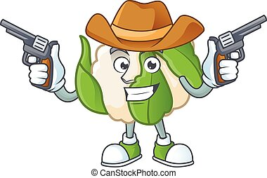 cavolfiore, mascotte, cowboy, presa a terra, pistole, sorridente, icona