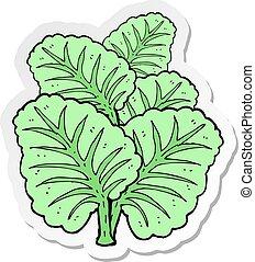 cavolo, adesivo, foglie, cartone animato