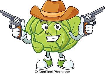 cavolo, icona, sorridente, mascotte, presa a terra, pistole, cowboy