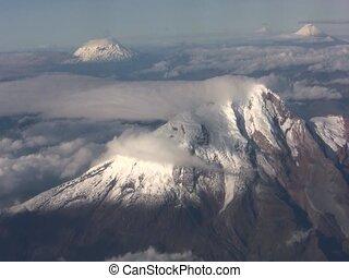 cayambe, aire, ecuatoriano, andes, volcán, visto