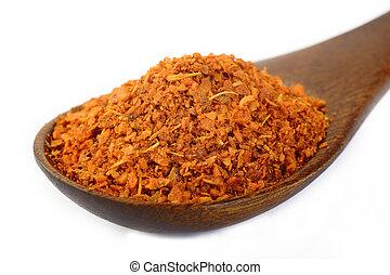 cayenne pepper in wooden spoon