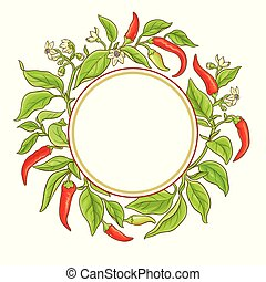 cayenne pepper vector frame on white backgronud