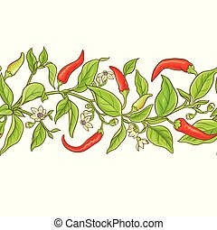 cayenne pepper vector pattern on white background