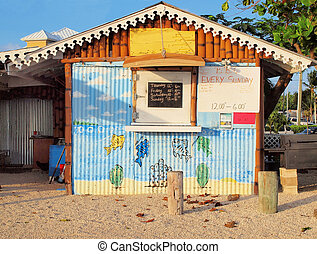 A small local food stand in the West Bay district of Grand Cayman in the Cayman Islands