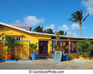 Bright and colorful buildings in the Cayman Islands - this one a popular local restaurant