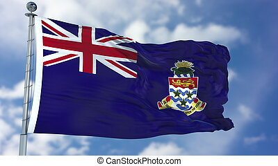 Cayman Islands Flag in a Blue Sky