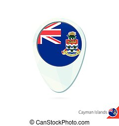 Cayman Islands flag location map pin icon on white...
