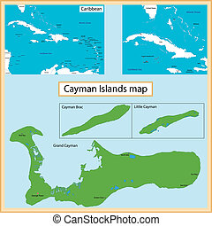 Cayman Islands map - Map of the Cayman Islands islands drawn...