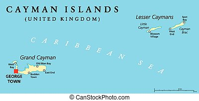 Cayman Islands Political Map with capital George Town and ...