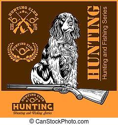 caza, -, arma de fuego, ilustración, perro, vector, pato