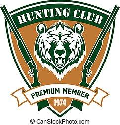 caza, club, miembro, vector, isloated, protector, señal