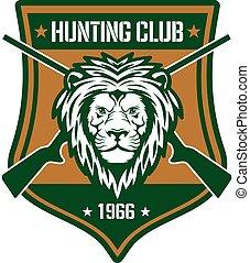 caza, club, señal, con, león, en, heráldico, protector