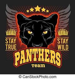 caza, club, signo., cazador, deporte, equipo, protector, símbolo., safari, caza, de, animal salvaje, pantera, logotipo, estrella