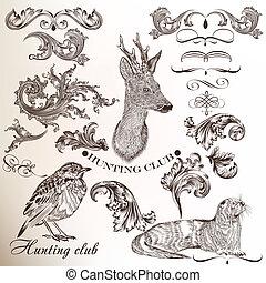 caza, conjunto, dibujado, elementos, mano