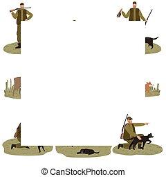 caza, conjunto, verde, hombres, naturaleza, cazadores, oscuridad, perro, disfraz