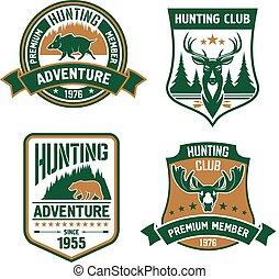 caza, deporte, club, protector, iconos