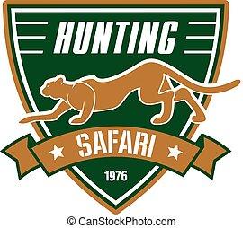 caza, deporte, club, vector, señal