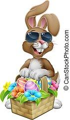 caza, gafas de sol, caricatura, huevos de pascua, conejito