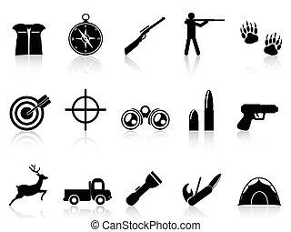 caza, iconos, conjunto