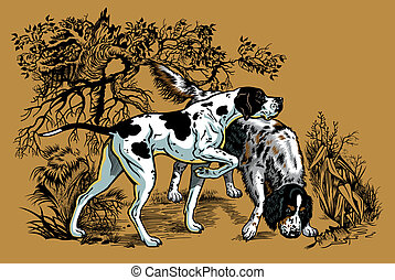 caza, ilustración, perros