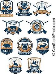 caza, símbolo del deporte, y, cazador, club, insignia, conjunto