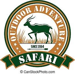 caza, safari, aventura al aire libre, club, vector, señal