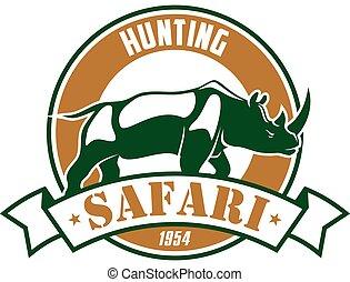 caza, safari, aventura, club, vector, señal