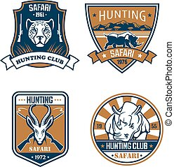 caza, safari, cazador, deporte, club, vector, iconos, conjunto