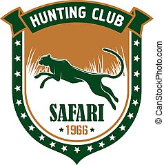 caza, safari, club, vector, señal
