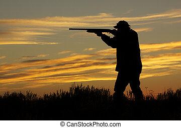 cazador, altiplano, disparando, ocaso