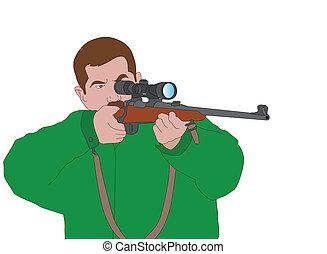 cazador, apuntar, con, francotirador, rifle