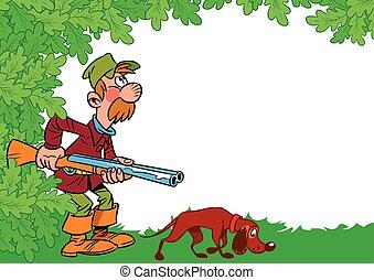 cazador, con, perro