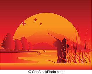 cazador, en, el, lago