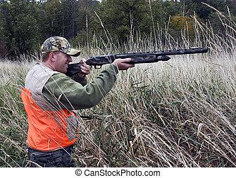 cazador, en, pantano, pasto o césped